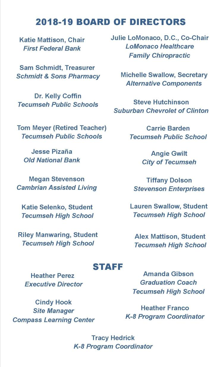 2018-19 Board & Staff list for website