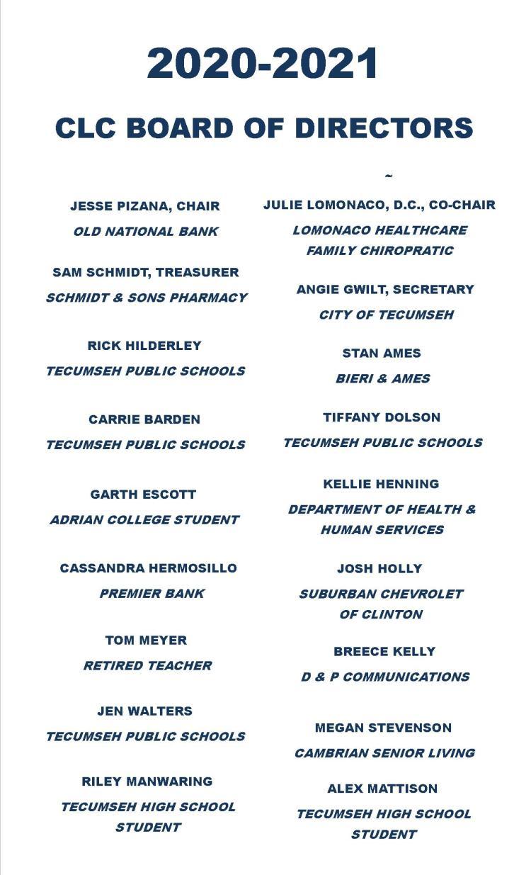 2020-21 Board of Directors for website