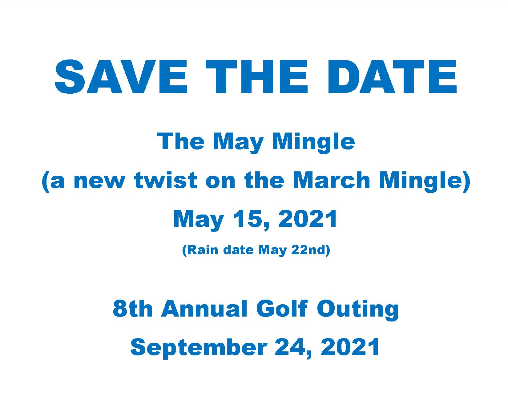 Save the date image for website 2021 May Mingle and Golf Outing
